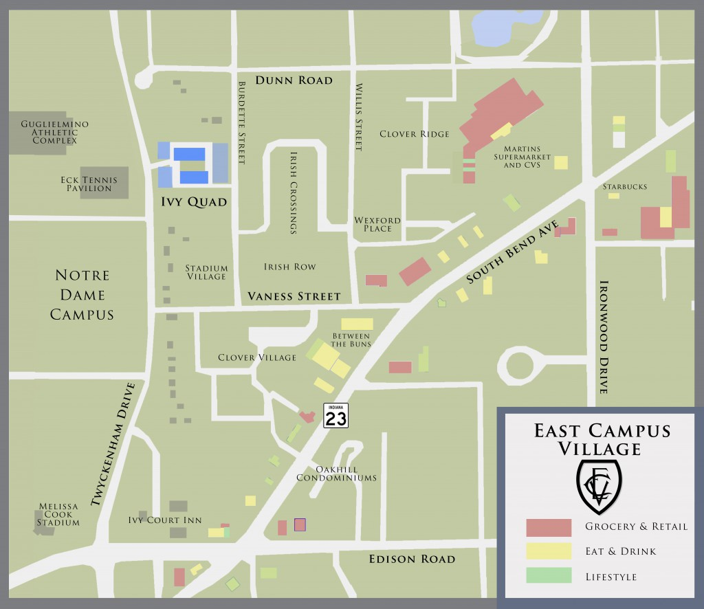 Map highlighting the East Campus Village
